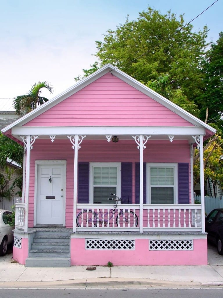 Small pink wooden house in Key West, Florida