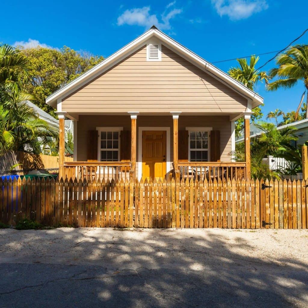Key West, Florida USA - March 3, 2015: Typical wood frame architecture style home in the residential district of Key West.